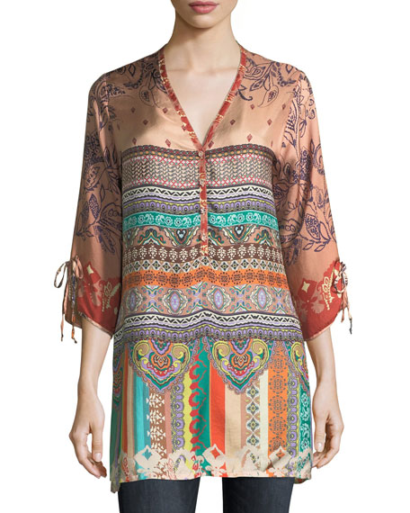 Johnny Was Cavalan Mixed-Print Georgette Blouse