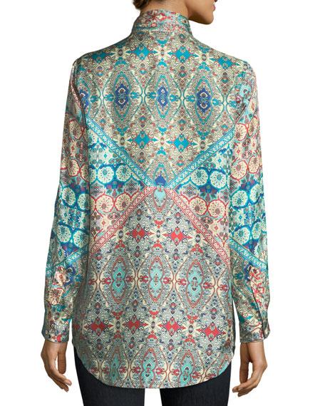 Paolomo Button-Front Silk Tunic, Plus Size