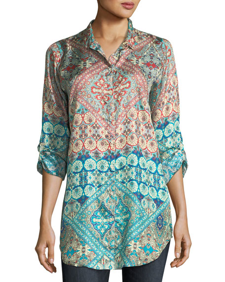 Johnny Was Paolomo Button-Front Silk Tunic, Plus Size