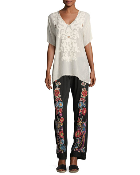Briyah Floral Embroidered Pants, Plus Size