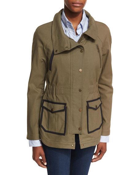 Snap-Front Spread-Collar Canvas Army Jacket