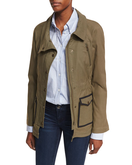 Veronica Beard Snap-Front Spread-Collar Canvas Army Jacket