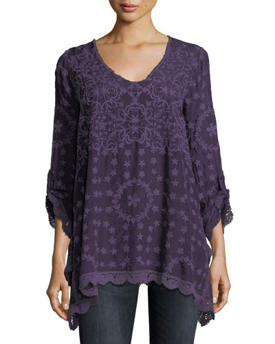 Jossimar Embroidered Flowy Georgette Tunic