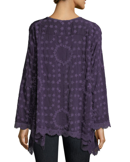 Jossimar Embroidered Flowy Georgette Tunic, Plus Size