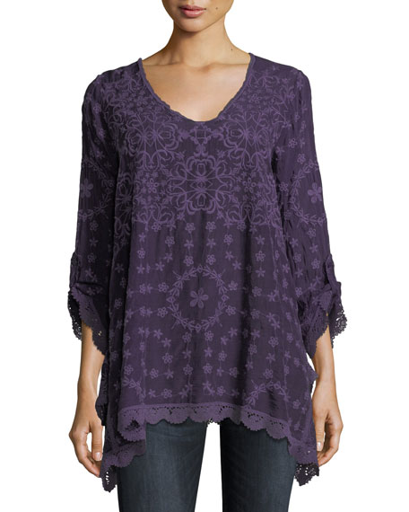 Johnny Was Jossimar Embroidered Flowy Georgette Tunic, Plus