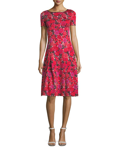 Indian Rose Blister Jacquard Cocktail Dress