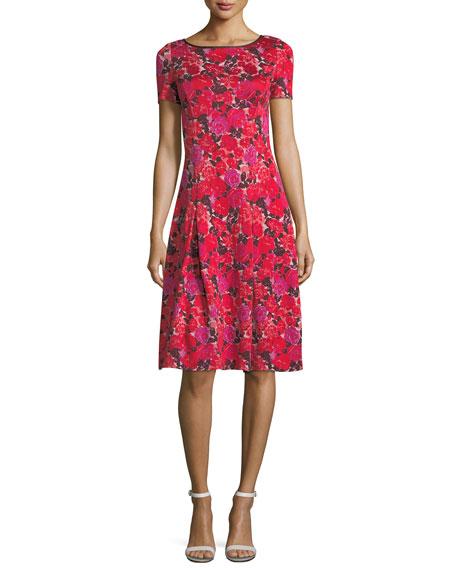 Indian Rose Blister Jacquard Cocktail Dress