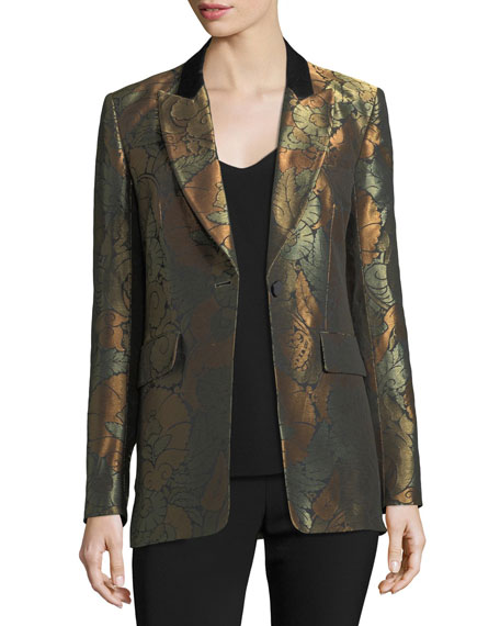 Veronica Beard Vera One-Button Metallic Jacquard Cocktail Blazer