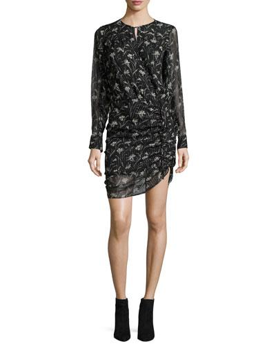 Fitzgerald Side-Ruched Floral-Print Chiffon Mini Dress