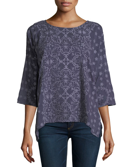 Jossy Embroidered 3/4-Sleeve Top, Plus Size
