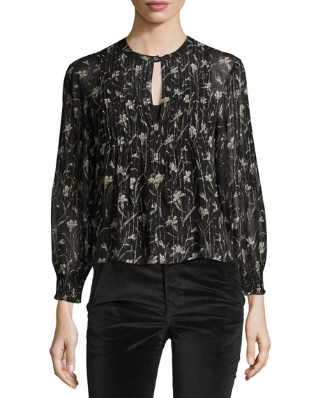 Walker Floral-Print Sheer Long-Sleeve Peasant Top