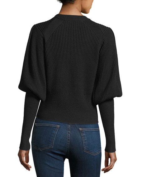 Jude Crewneck Leg-of-Mutton Sleeve Wool Sweater