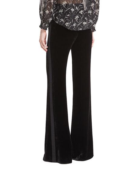 Ramsey Wide-Leg High-Waist Velvet Tux Pants