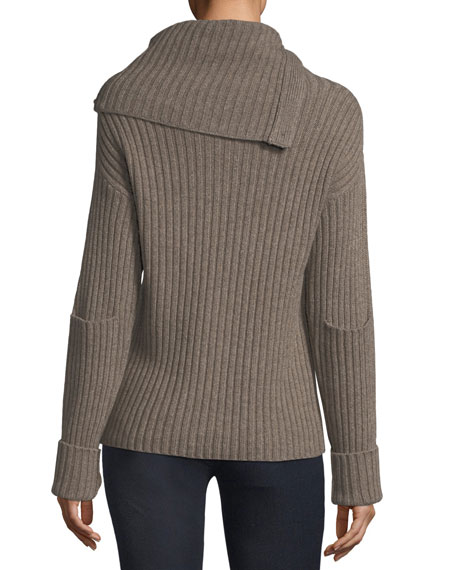 High-Neck Ribbed Wool-Blend Sweater