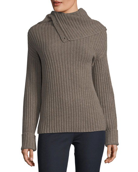 Joseph High-Neck Ribbed Wool-Blend Sweater