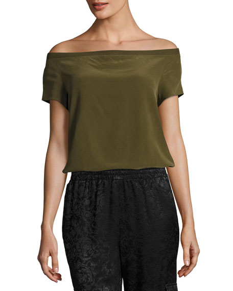 Alice + Olivia Hadley Off-the-Shoulder Silk Top