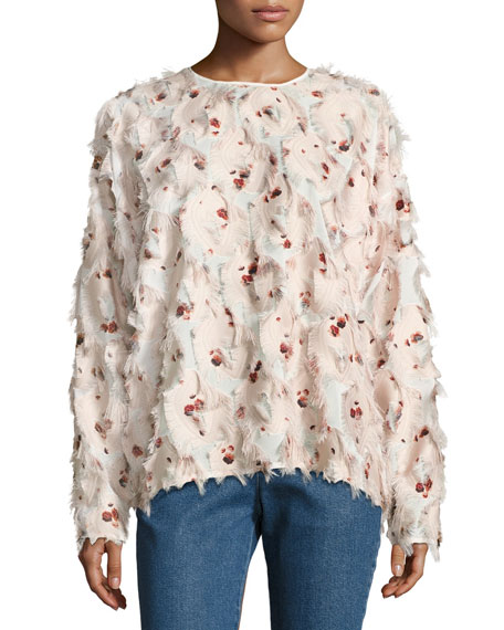 Fringed Long-Sleeve Jewel-Neck Floral-Printed Blouse
