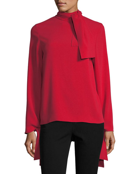 Joseph Todd Long-Sleeve Tie Neck Blouse
