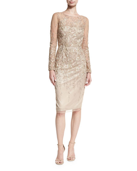 David Meister Long-Sleeve Embroidered Metallic Lace Cocktail