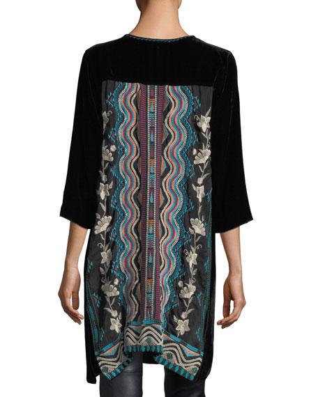 Yucatan Embroidered Georgette & Velvet Tunic
