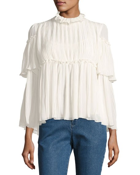 See by Chloe Gathered Long-Sleeve High-Neck Peasant Blouse