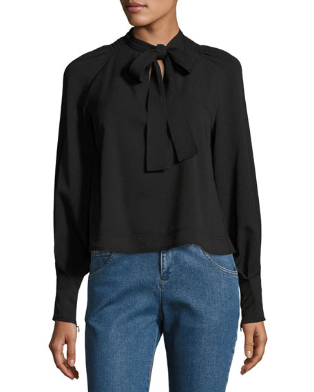 Necktie Long-Sleeve Crepe Blouse