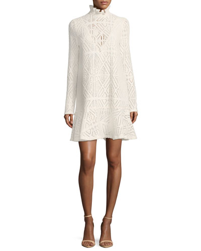 High-Neck Crochet A-line Dress