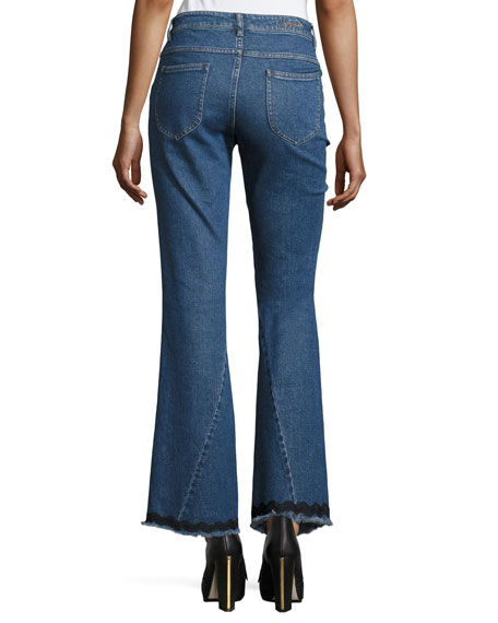 Mid-Rise Flared Raw-Hem Jeans