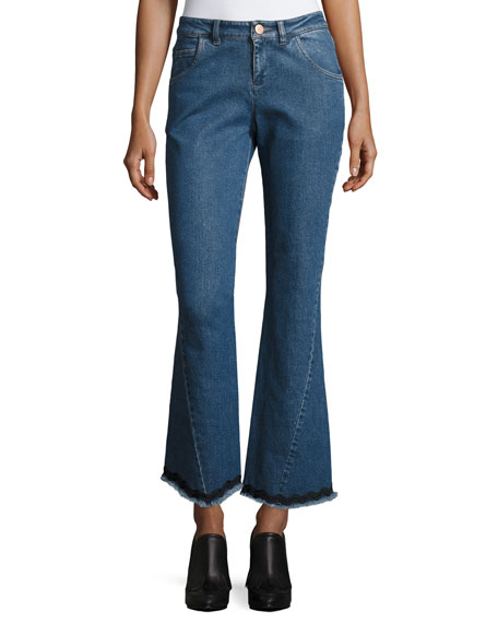 See by Chloe Mid-Rise Flared Raw-Hem Jeans and