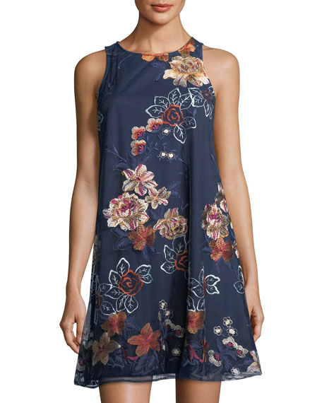 Label by 5Twelve Floral-Embroidered A-Line Minidress