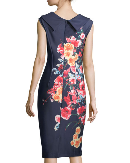 Floral-Print Roll-Neck Midi Dress, Navy