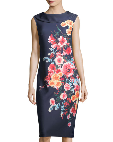 Label by 5Twelve Floral-Print Roll-Neck Midi Dress, Navy