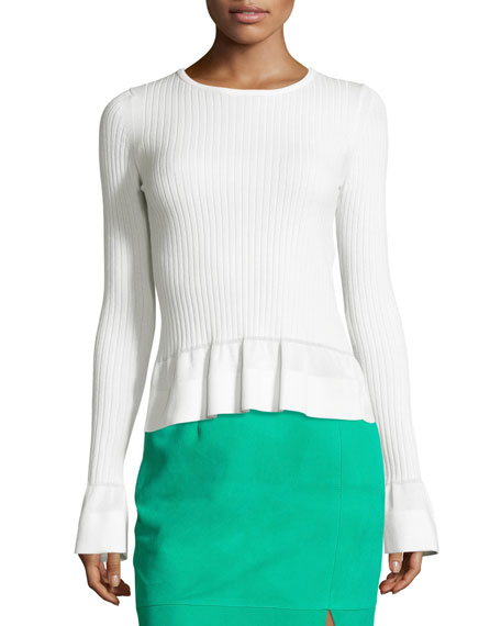 Diane von Furstenberg Ribbed Knit Peplum Top, White