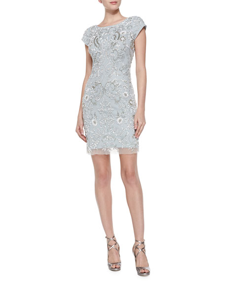 Aidan Mattox Short-Sleeve Beaded Mesh Cocktail Dress