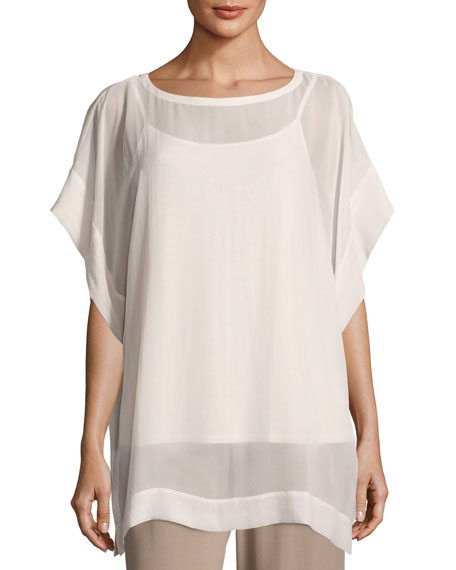 Bateau-Neck Sheer Silk Georgette Box Top