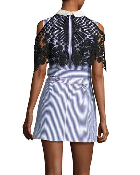 Striped Shirting Sleeveless Mini Dress with Lace Cape