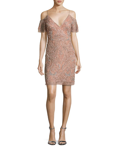 Beaded Paisley Cold-Shoulder Cocktail Dress