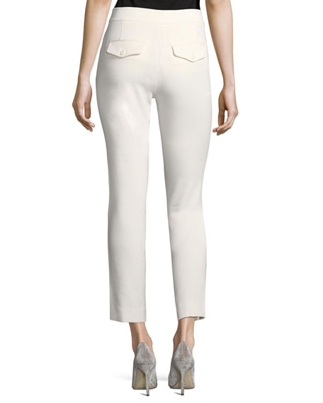 Straight-Leg Ankle Cotton-Blend Pants