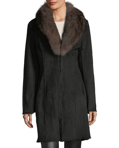 Suede Shearling Long Coat w/ Fox Fur Trim