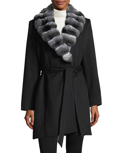 Chinchilla-Trim Belted Cashmere Wrap Coat