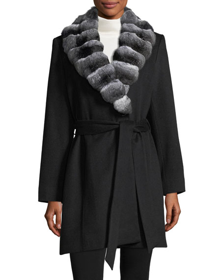 Sofia Cashmere Chinchilla-Trim Belted Cashmere Wrap Coat