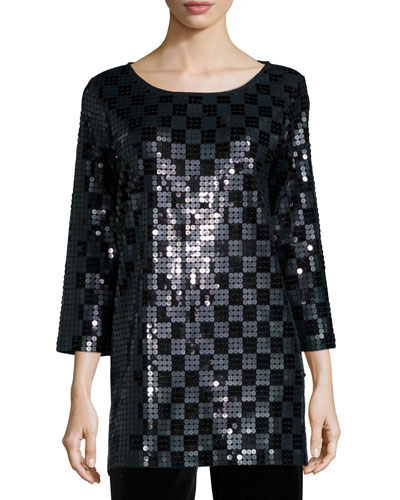 3/4-Sleeve Square Sequined Tunic