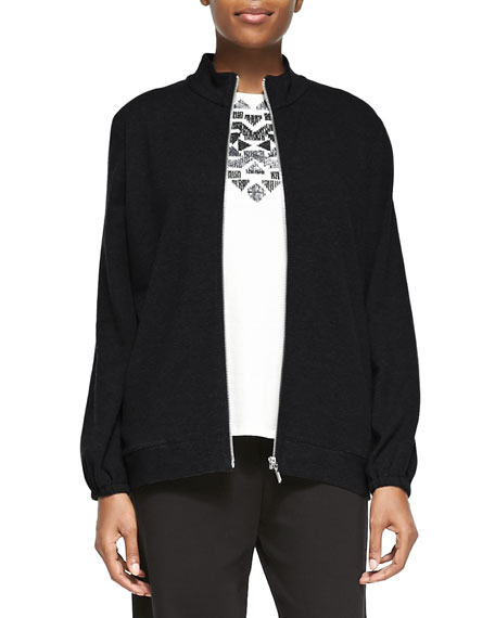 Joan Vass Mock-Neck Zip-Front Jacket, Sequined Sleeveless Shell