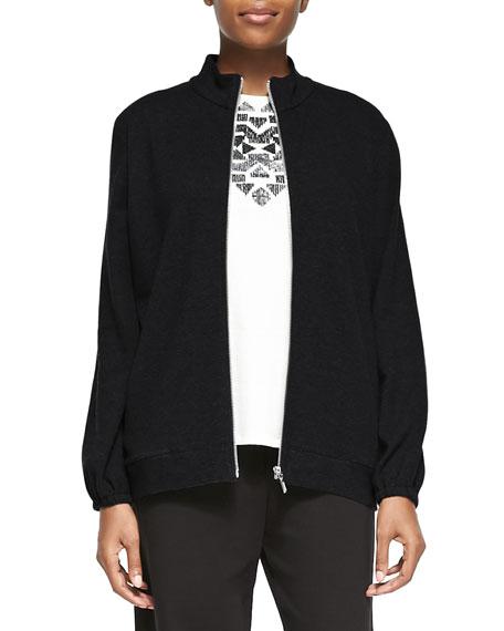 Mock-Neck Zip-Front Jacket