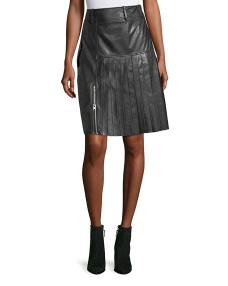 Public School Ebele Pleated Pencil Leather Skirt