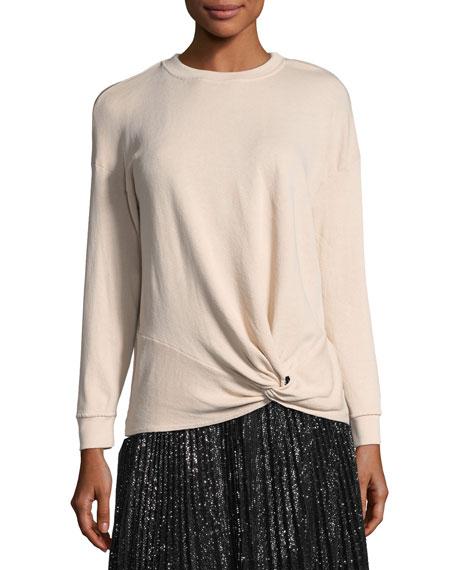 Joie Nazani Crewneck Tie-Waist Sweatshirt