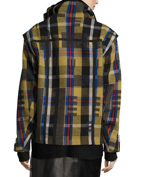 Una Plaid Wool-Knit Jacket w/ Removable Sleeve
