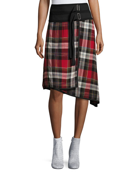 Ilha Plaid High-Waist A-Line Skirt