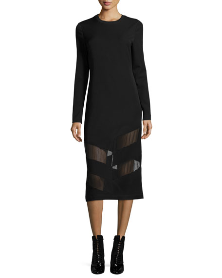 Elsi Crewneck Long-Sleeve Midi Dress w/ Mesh
