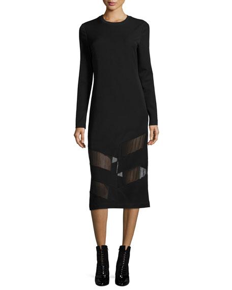 Elsi Crewneck Long-Sleeve Midi Dress w/ Mesh